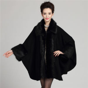 Female Fashion Chunky Acrylic Knitted Faux Fur Shawl (YKY4429) pictures & photos