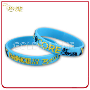 Customized Embossed Printed Convex Design Silicon Wristband pictures & photos