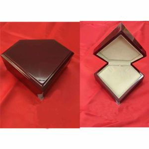 Wooden Ring and Necklace Box with PU and Velvet Insert