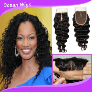 100% Indian Human Hair Lace Closure New Products 3.5*4inch Deep Wave Hair Closure (CL-022) pictures & photos