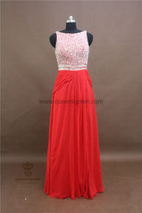 Wholesale Top Quality Crystal Beaded Illusion Evening Dress