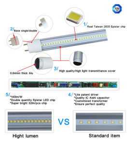 TUV Certificated 140lm/W High Quality T8 LED Tube pictures & photos