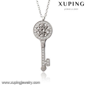 Necklace-00066 Fashion Charm Rhodium CZ Key Stainless Steel Imitation Jewelry Pendant Necklace pictures & photos