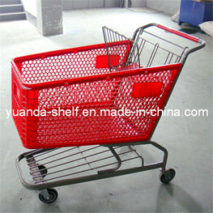 Supermarket Plastic Basket Shopping Cart Trolley pictures & photos
