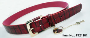 Red Crocodile Grain PU Belt pictures & photos