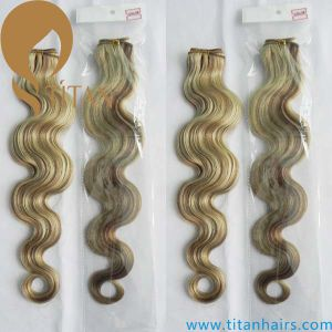 Body Wavy Piano Color Indian Remy Human Hair Weft pictures & photos