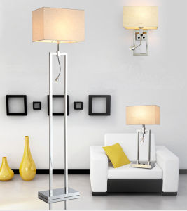 Very Fashion & Modern Metal LED Desk Table Lamp Light with Fabric Shade for Bedroom, Finished in Chrome pictures & photos