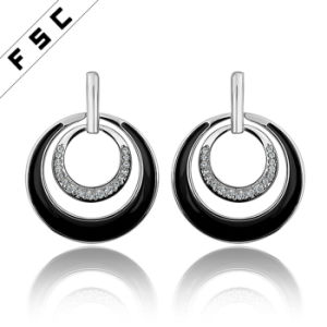 Fashion Jewellery Gold Plated Round Girl′s Earrings in Rhinestone pictures & photos