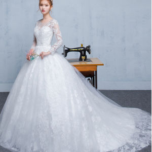 2017 Ball Gown Corset Bodice Stone Lace Applique Bateau Full Sleeveswedding Dress pictures & photos