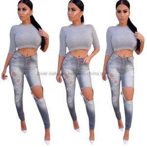 2017 New Design Gray Denim Ripped Skinny Jeans L550 pictures & photos