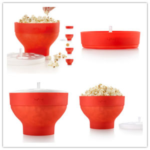 Silicone Plastic Popcorn Bowl Microwave Popcorn Containers pictures & photos