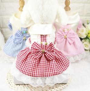 Grid Cute Dog Bowtie Tutu Skirt Pet Lace Dress pictures & photos