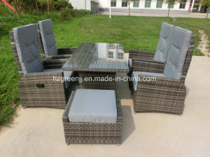 7 Pieces Gas Recliner Dining Set with Stool Outdoor Furniture pictures & photos