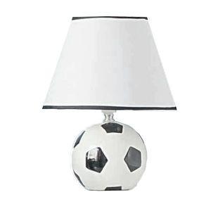 B60-717 White Fabric Shade Football Table Lamp