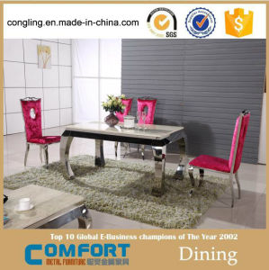 Modern Dining Table with Mirror Stainless Steel for Home Furniture (A8051)