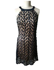 Newest Fahshion Jacquard Lace Sleeveless Round Neck Women′s Dress pictures & photos