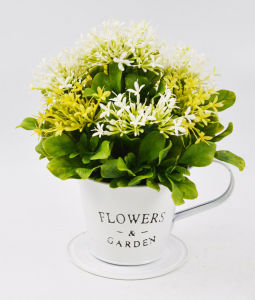 Artificial Flocking Wildflowers in Tin Pot with Salver for Decoration