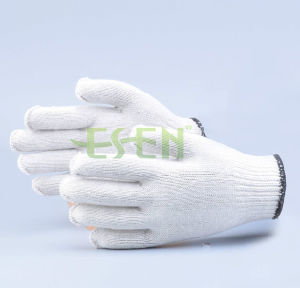 Wholesale Cheap 10 Pins 400g White Poly Cotton Knitted Work Gloves pictures & photos