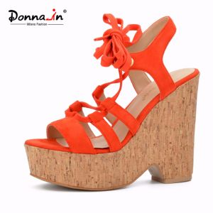 Lady Casual Lace-up High Heels Cork Platform Women Wedge Sandals