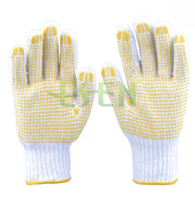 Safety Working Knitted Cotton Gloves with PVC Yellow Dots pictures & photos