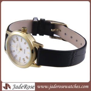 Stainless Steel Leather Strap Sport Ladies Quartz Wrist Watch pictures & photos