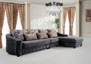 Classical Home Fabric Corner Sofa Set Sectional Couch with Wood for Living Room pictures & photos