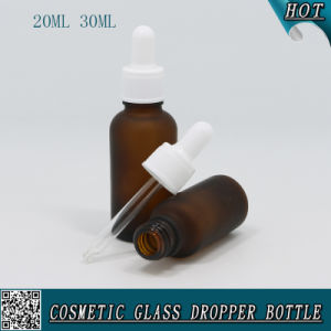 2/3 Oz 1oz Frosted Amber Glass E Liquid Bottle with White Plastic Dropper Cap pictures & photos