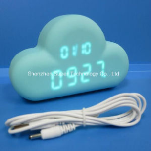 USB Rechargeable Blue Cloud LED Alarm Clock Sound Control pictures & photos
