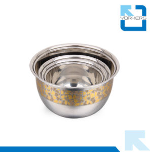 Wholesale New Style Golden Stainless Steel Bowl Sets pictures & photos