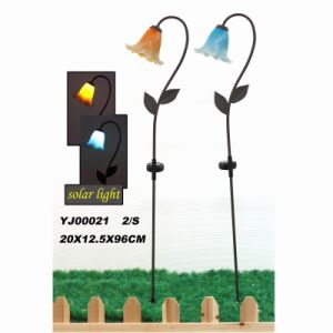 Garden Decoration Stained Glass Decorated Metal Stake Craft with Solar Light pictures & photos