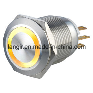 19mm Waterproof Momentary 1no1nc Yellow LED Metal Push Button Switch pictures & photos