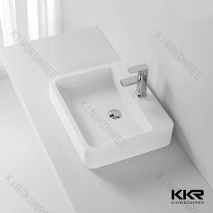 Kkr White Acrylic Stone Solid Surface Bathroom Sink pictures & photos