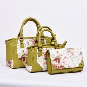 Elegant PU Tote Bag Shoulder Bag with Flower Print on Front pictures & photos