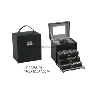 Black Ostrich Material with Grey Lining Gift Jewelry Display Box Leather Jewelry Box