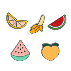 Metal Fruit Watermelon Design Shirt Collar Pin Zinc Alloy Peach&Banana Enamel Brooch Pin Gift pictures & photos