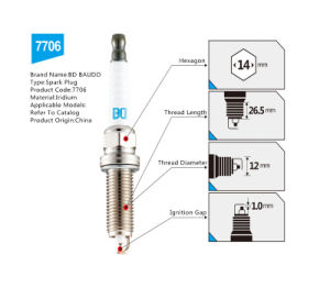 Bd 7706 Iridium Spark Plug for Murano March X-Trail Qichen D50 Teana Auto Engine Ignition System pictures & photos