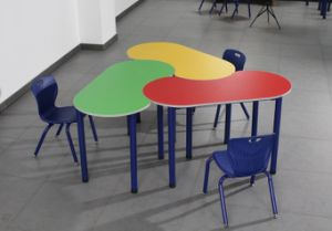 Double Combined Student Table and Chair School Desk (BZ-0152) pictures & photos