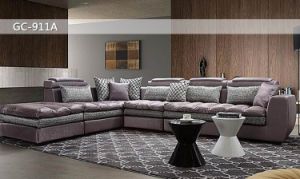 Silver and Grey Fabric Modern Sofa with Cushion (911A) pictures & photos
