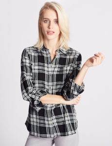 Pure Cotton Checked Long Sleeve Shirt for Women pictures & photos