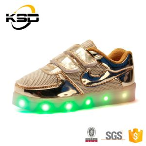 2016 Shining PU Leather Kids LED Light up Shoes USB Chargeable Battery Operated LED Shoes Light pictures & photos