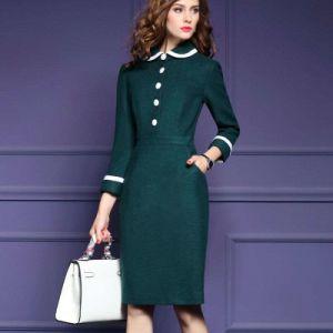 Winter Wool Woolen Dress Long Sleeve Doll Dress for Women pictures & photos