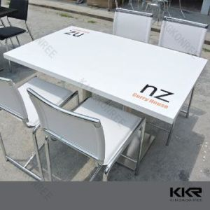 4 Seats Faux Acrylic Solid Surface Top Dining Table Set pictures & photos