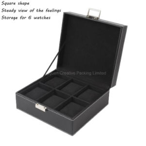 Custom Luxury Black PU Leather Wrist Watch Storage Box Wholesale pictures & photos