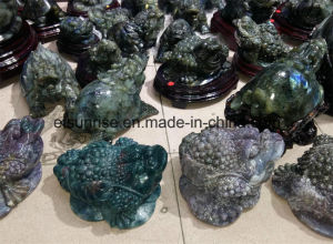 Semi Precious Stone Crystal Quartz Blood Stone Toad Carving Statue pictures & photos