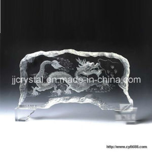 3D Laser Engraved Crystal Glass Office Table Decorations pictures & photos