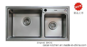 Cacar High Quality Rectangular Groove Double Kitchen Sink (CCL-8245B) pictures & photos