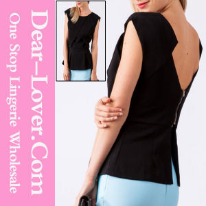 Womanly Black Zipped Back Top with Peplum Detail pictures & photos