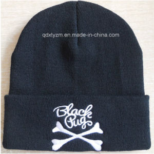 Promotional Custms Black Beanie Cap and Hat with Embroidery