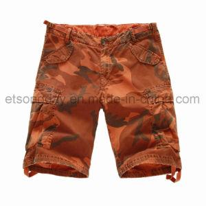 Printed Camouflage 100% Cotton Orange Men′s Shorts (16283) pictures & photos