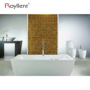 Royllent Metallic Mosaic Wall Sticker Mosaic Golden Color Tiles DIY Bathroom Decoration